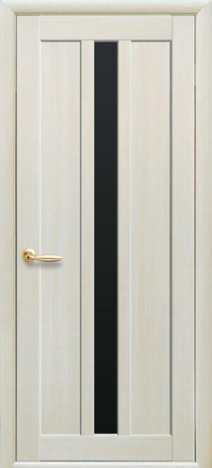 Межкомнатные двери Экошпон 39 с черным стеклом