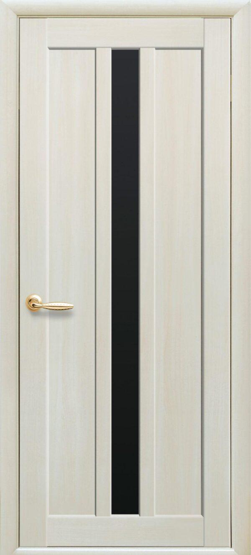 Межкомнатные двери Экошпон 39 с черным стеклом 5