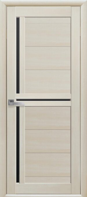 Межкомнатные двери Экошпон 40 с черным стеклом