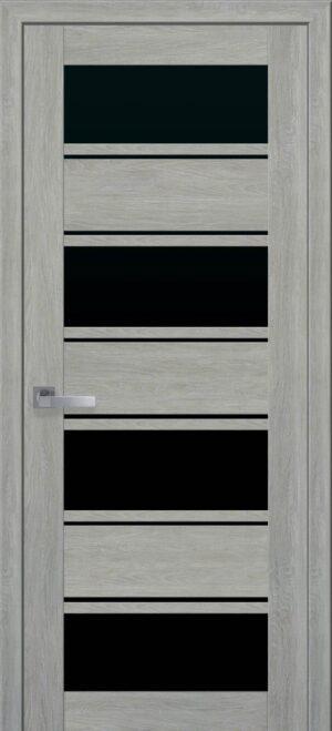 Межкомнатные двери Экошпон 42 с черным стеклом
