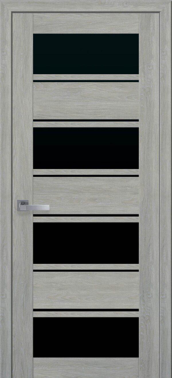 Межкомнатные двери Экошпон 42 с черным стеклом 5