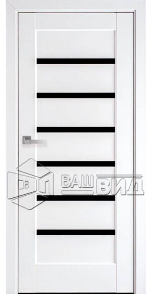 Межкомнатные двери ПВХ П11 с черным стеклом