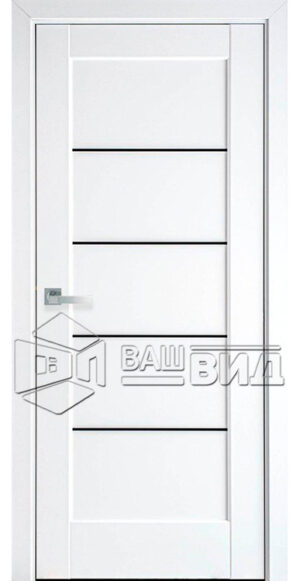 Межкомнатные двери ПВХ П12 с черным стеклом