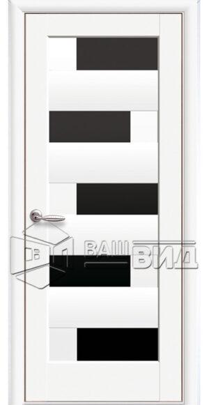 Межкомнатные двери ПВХ П14 с черным стеклом