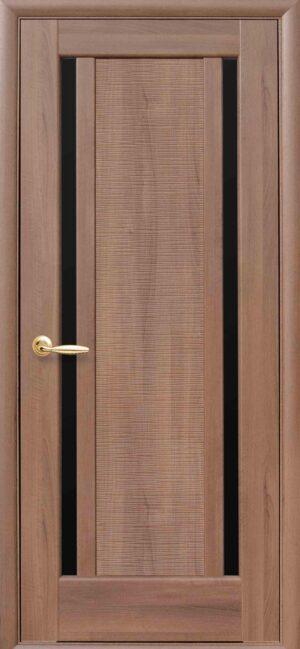 Межкомнатные двери ПВХ П10 с черным стеклом