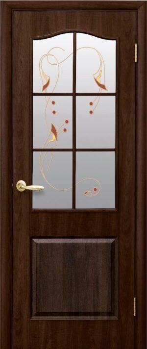 Межкомнатные двери ПВХ П17 со стеклом сатин и рисунком