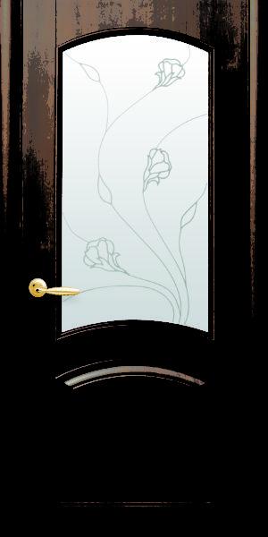 Межкомнатные двери ПВХ П18 со стеклом сатин и рисунком