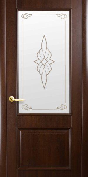 Межкомнатные двери ПВХ П19 со стеклом сатин и рисунком