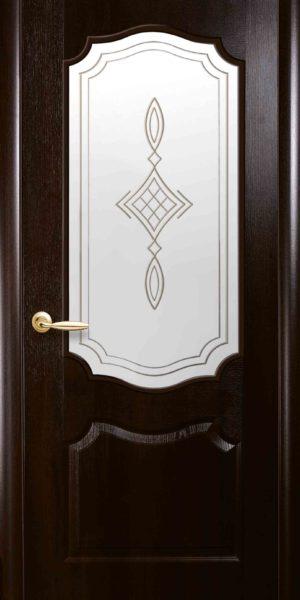 Межкомнатные двери ПВХ П21 со стеклом сатин и рисунком