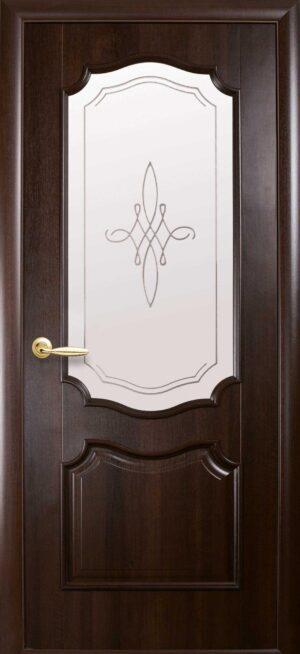 Межкомнатные двери ПВХ П22 со стеклом сатин и рисунком