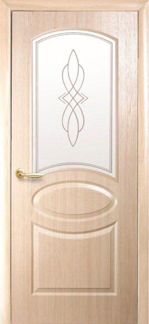 Межкомнатные двери ПВХ П23 со стеклом сатин и рисунком