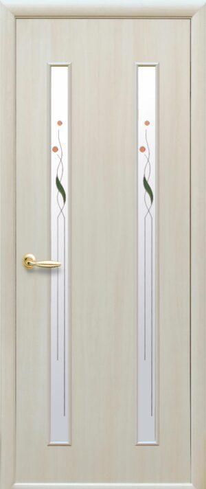 Межкомнатные двери ПВХ П36 со стеклом сатин и рисунком