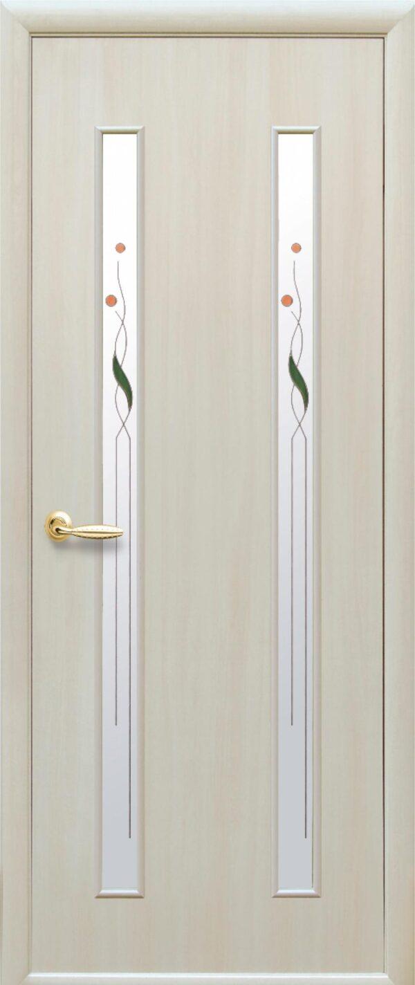 Межкомнатные двери ПВХ П36 со стеклом сатин и рисунком 5