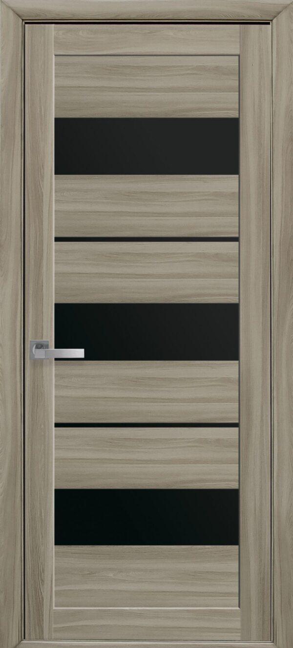 Межкомнатные двери ПВХ П38 с черным стеклом 5