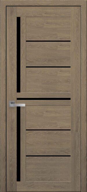 Межкомнатные двери ПВХ П41 с черным стеклом