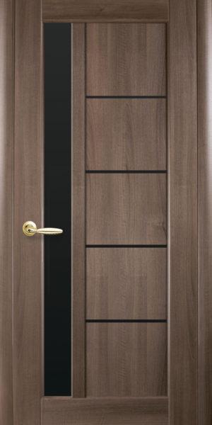 Межкомнатные двери ПВХ П5 с черным стеклом