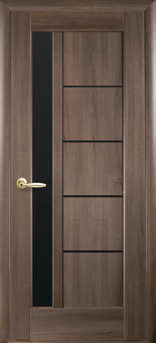 Межкомнатные двери ПВХ П5 с черным стеклом 5
