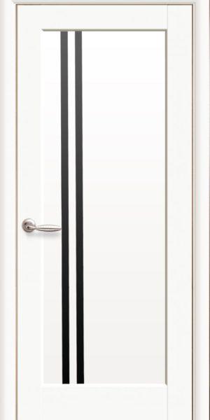 Межкомнатные двери ПВХ П8 с черным стеклом
