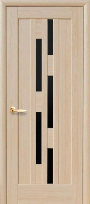 Межкомнатные двери ПВХ П9 с черным стеклом