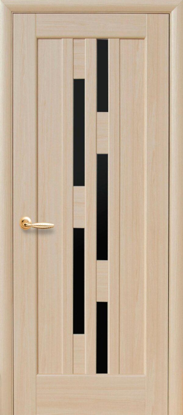 Межкомнатные двери ПВХ П9 с черным стеклом 5